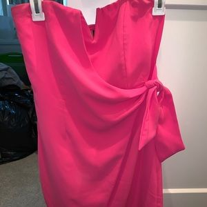 Wrap pink strapless dress